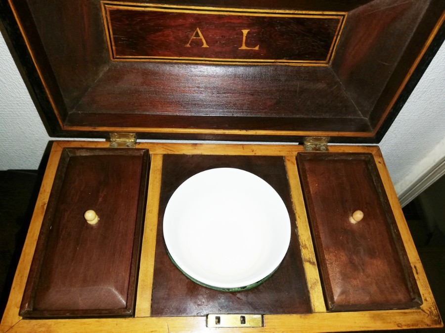 Antique Regency period Dated  3 compartment Mahogany Tea Caddy with original key  C.1816
