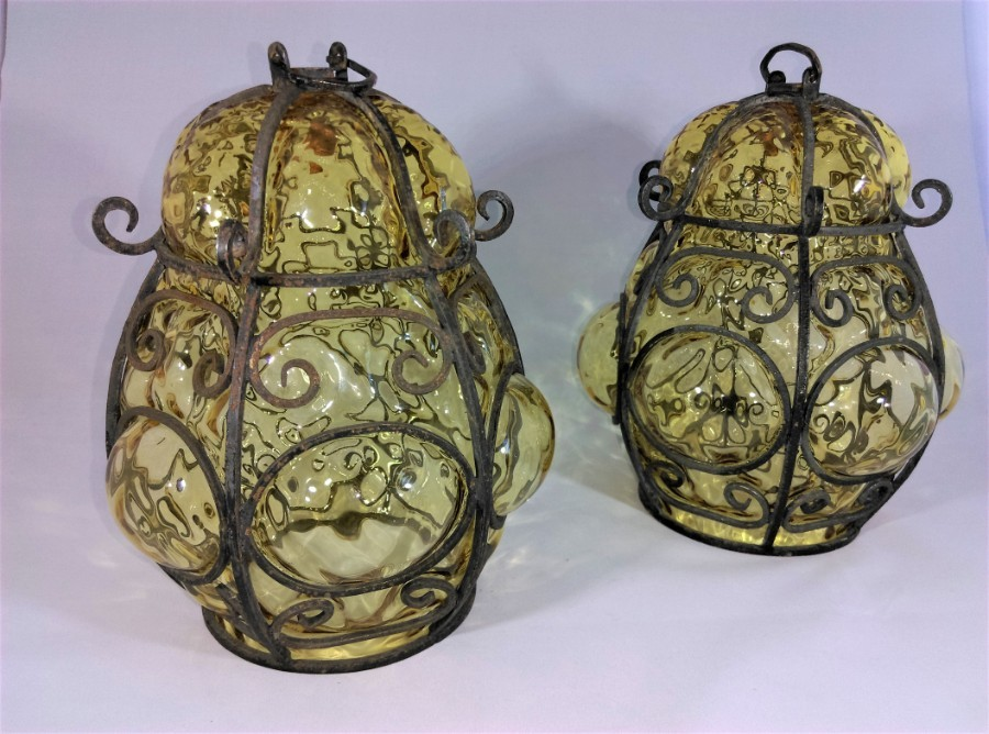 Pair of Stunning Italian Gianni Seguso Murano Cage Glass Lamp Shades Amber Glass