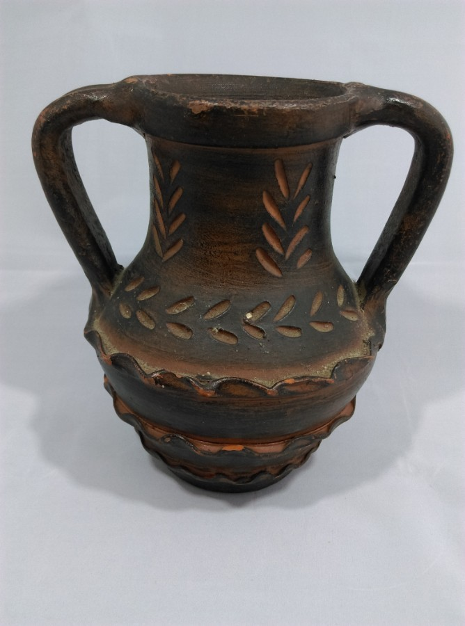 old Spanish Terracotta 2 handled Jug / Pitcher signed and stamped