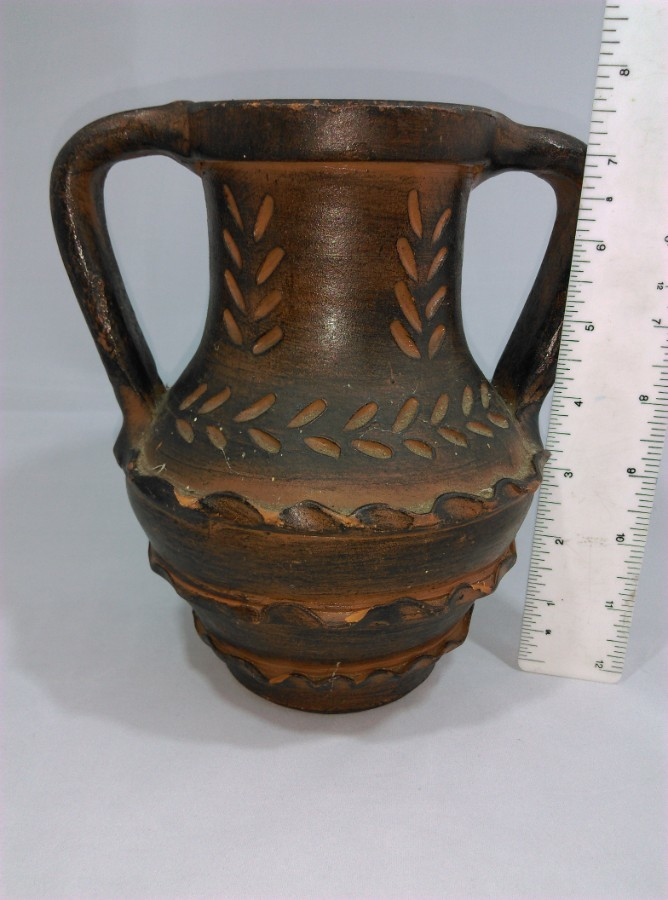 Antique old Spanish Terracotta 2 handled Jug / Pitcher signed and stamped