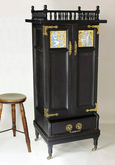 Aesthetic Movement Music Cabinet, Inset Minton Tiles. Anglo Japanese