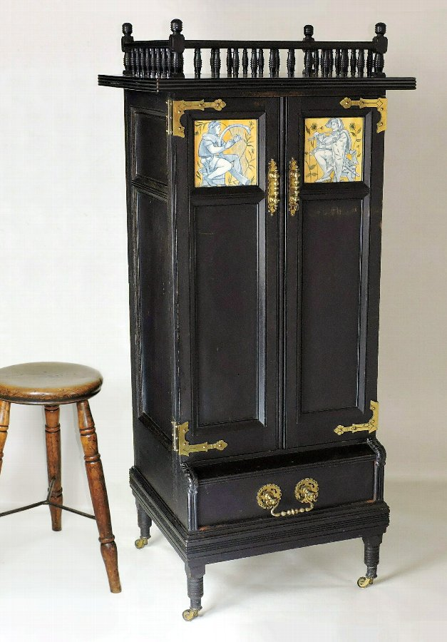 Aesthetic Movement Music Cabinet, inset Minton Tiles - Anglo Japanese.