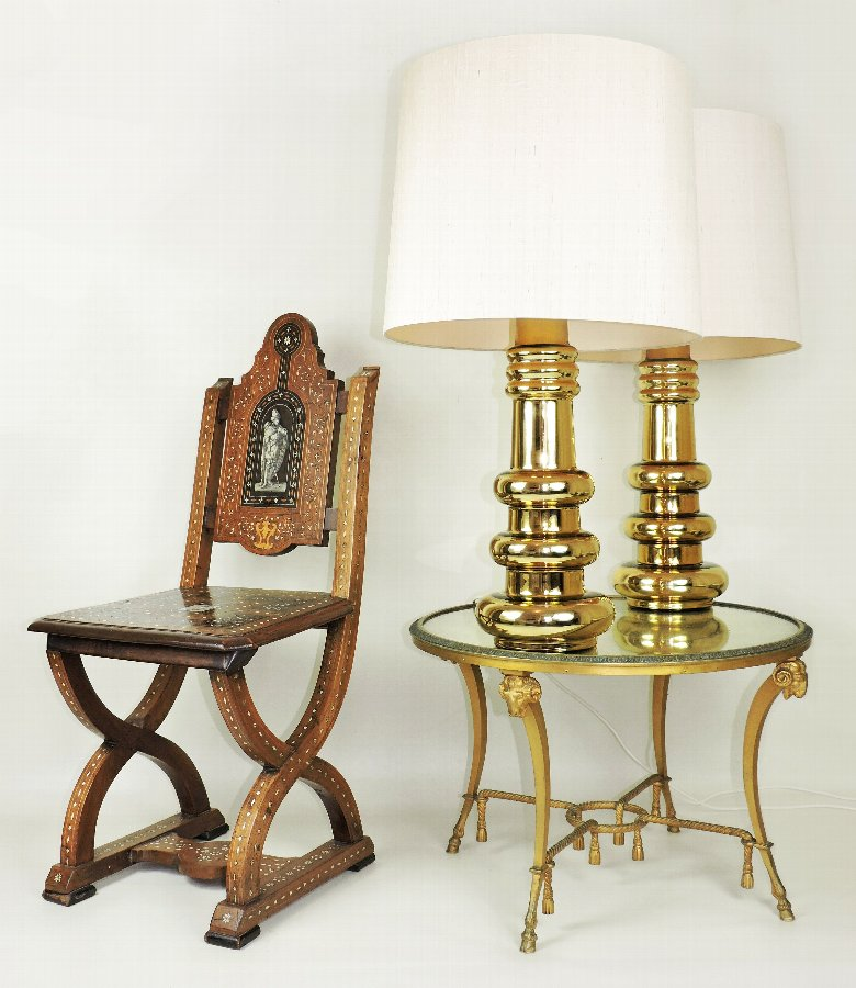 1960s Pair of Large KALMAR Gold Glass Lamps