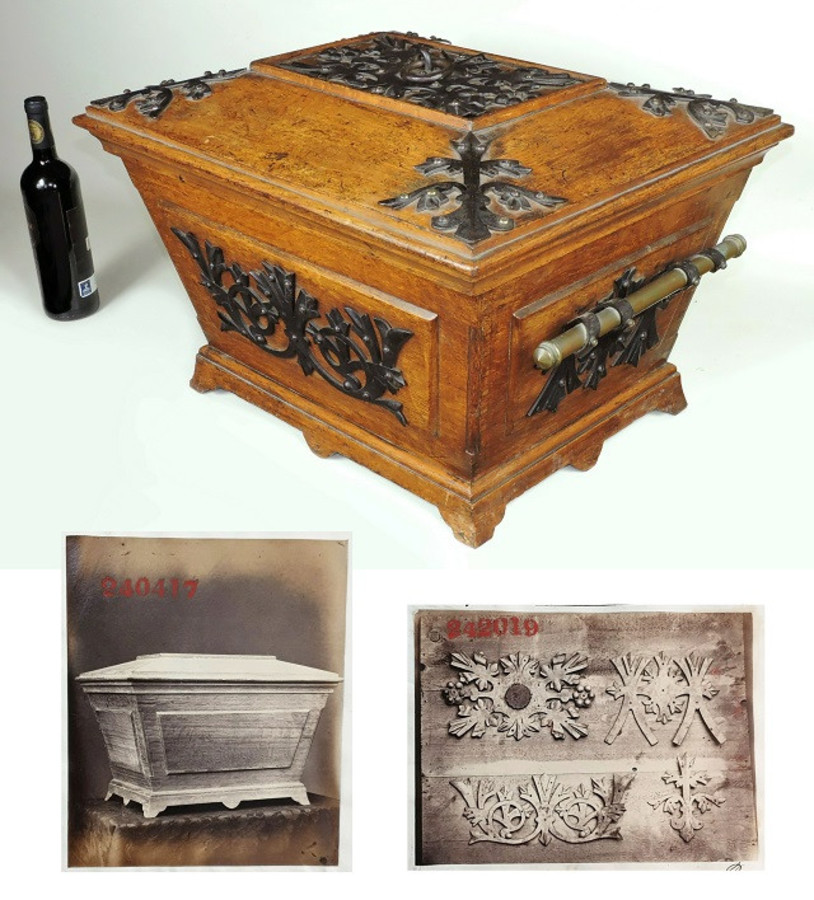 Gothic revival, ornate Coal Box / Cellarette, by Benham & Froud. Oak, iron. Rare. Documented.