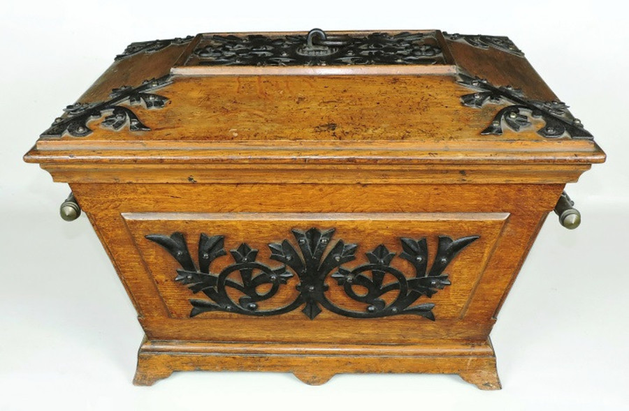 Antique Gothic revival, ornate Coal Box / Cellarette, by Benham & Froud. Oak, iron. Rare. Documented.