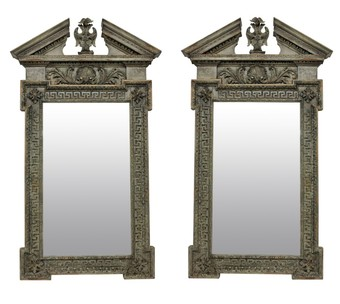 Antique A PAIR OF LARGE ENGLISH CARVED & PAINTED XVIII STYLE MIRRORS