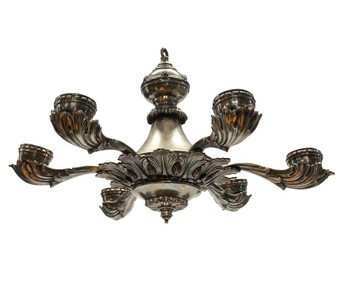 Antique A SILVER PLATED GREEK REVIVAL CHANDELIER