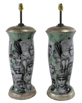 Antique A PAIR OF FORNASETTI INSPIRED DECLAMANIA LAMPS