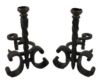 Antique A PAIR OF WROUGHT IRON CHENET C.1900
