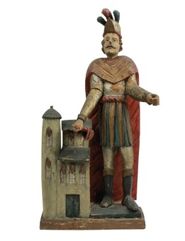 Antique A CARVED & POLYCHROME STATUE OF ST FLORIAN