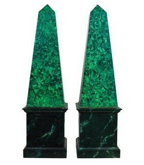 Antique PAIR OF LARGE FAUX MALACHITE OBELISKS