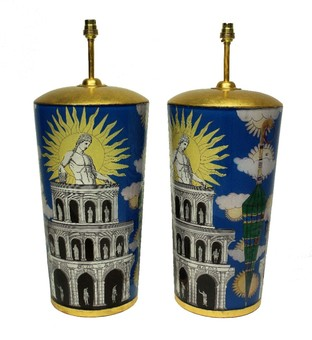Antique A PAIR OF LARGE DECLAMANIA FORNASETTI STYLE LAMPS
