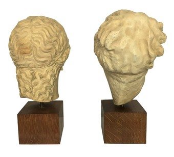 Antique TWO CLASSICAL LIFE SIZE PLASTER HEADS