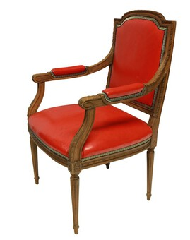 A LOUIS XVI STYLE ARMCHAIR IN RED LEATHER