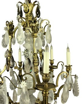 Antique A RUSSIAN CRISTAL DE ROCHE & GILT BRONZE CHANDELIER