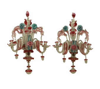 A PAIR OF XIX CENTURY MURANO GLASS WALL SCONCES