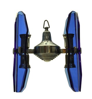 Antique A SMALL VECA PENDANT LIGHT IN BLUE GLASS