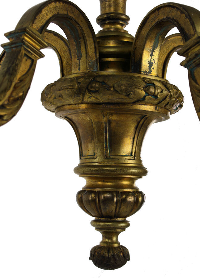 Antique A FINE ENGLISH GILT BRONZE CHANDELIER