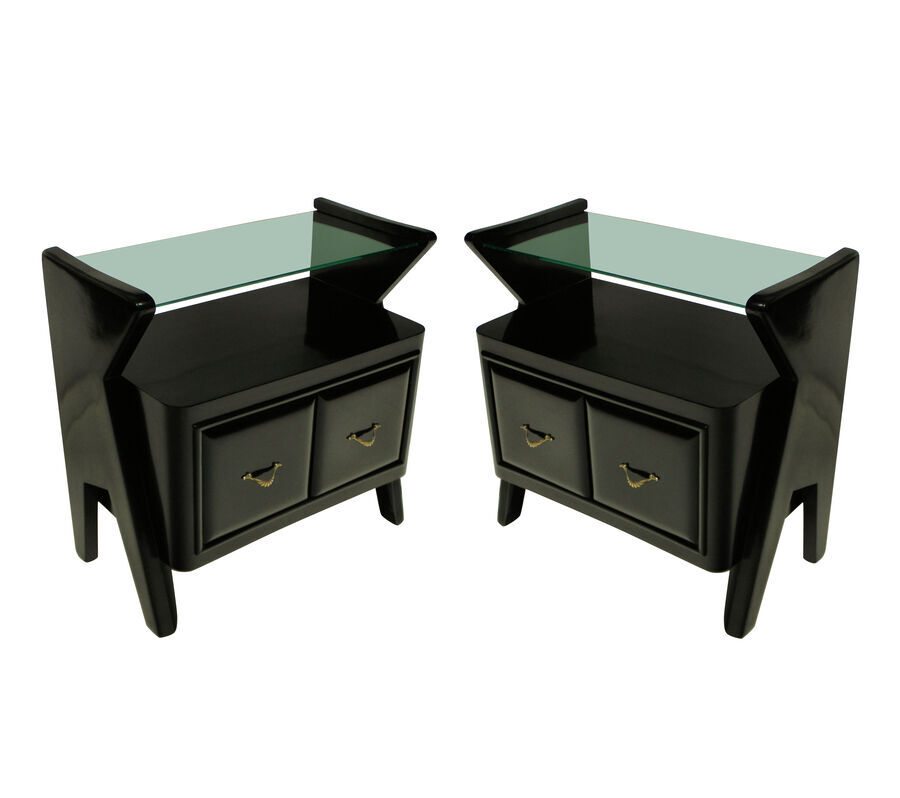 A PAIR OF STYLISH EBONISED ITALIAN NIGHT STANDS