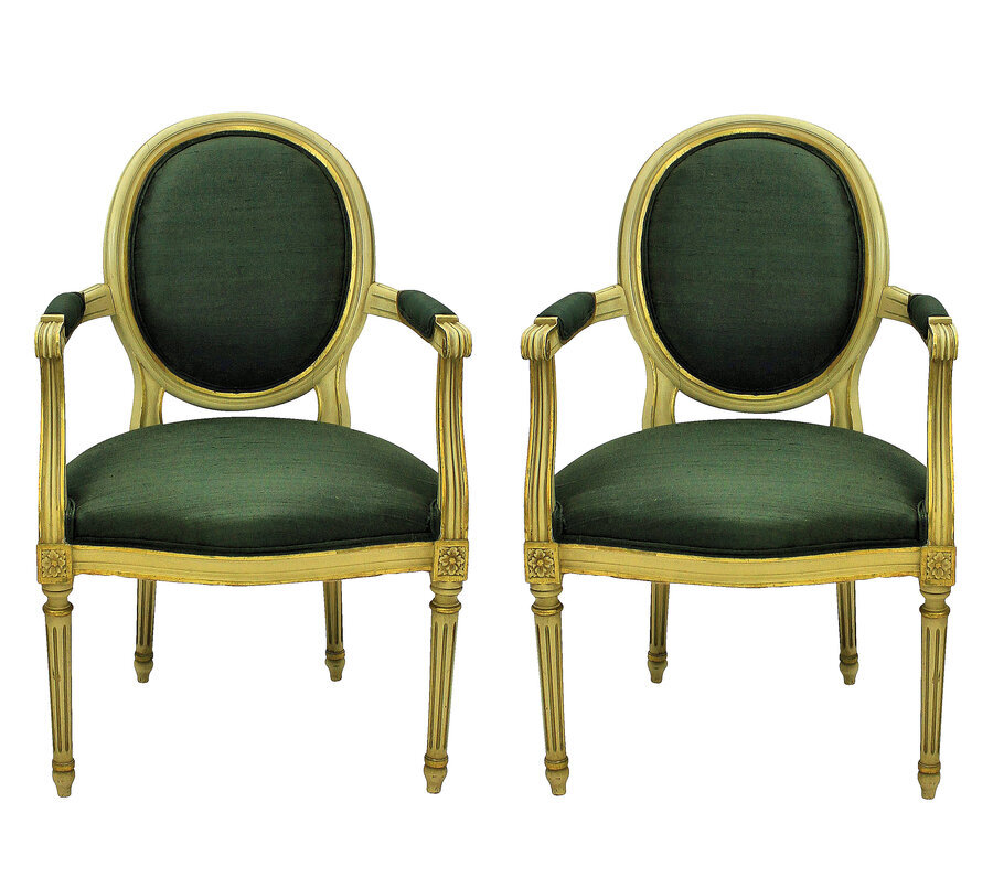 A PAIR OF LOUIS XVI STYLE PAINTED & GILDED ARMCHAIRS IN SAGE GREEN SILK