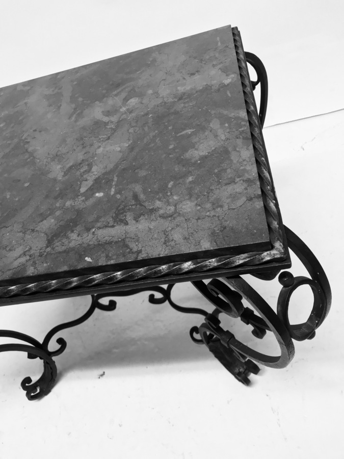 Antique A FRENCH WROUGHT IRON & MARBLE TOP OCCASIONAL TABLE