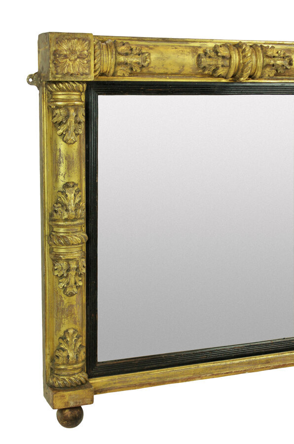 Antique A WILLIAM IV GILT WOOD OVER MANTLE MIRROR