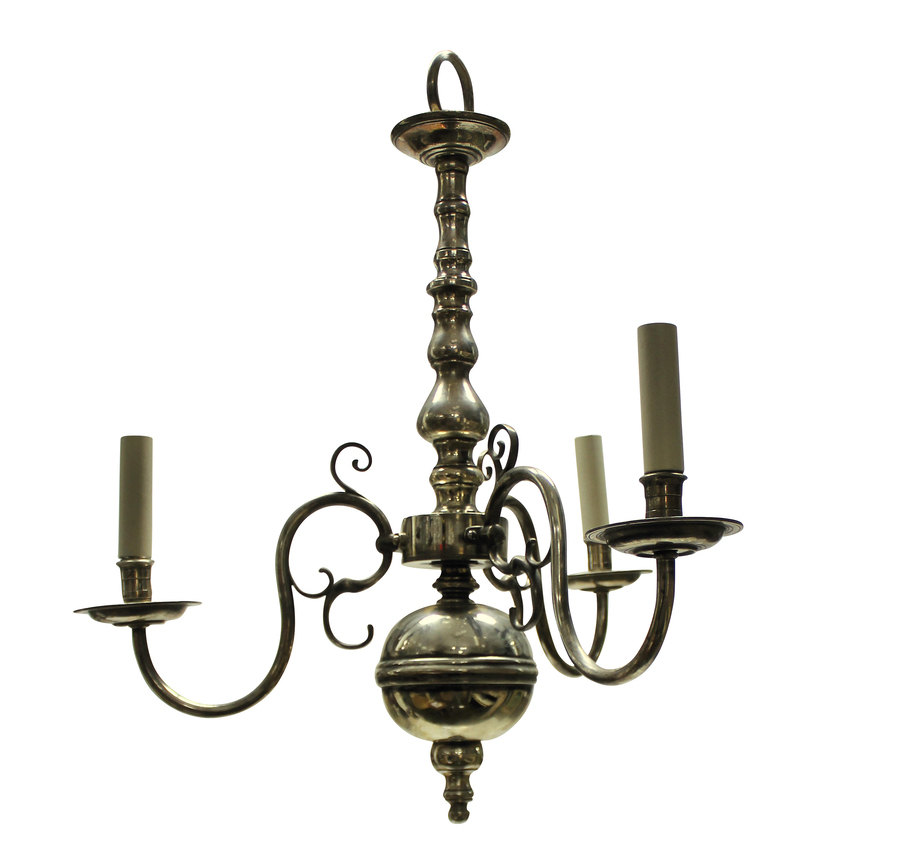 AN ENGLISH SILVER PLATED THREE BRANCH CHANDELIER