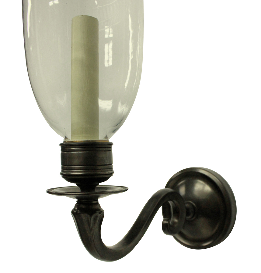 Antique A PAIR OF REGENCY STYLE WALL LIGHTS WITH STORM SHADES