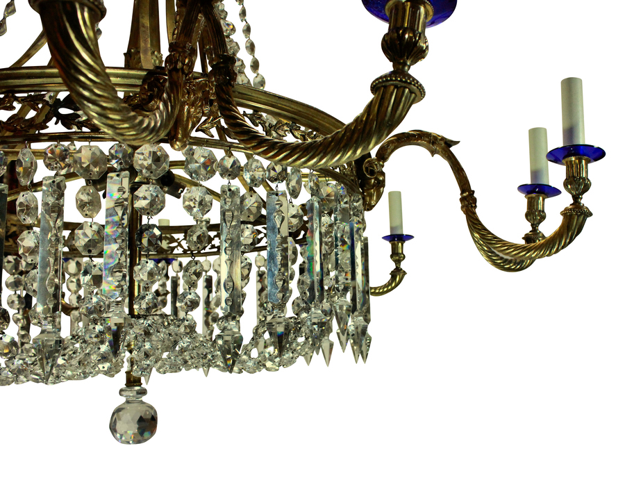 Antique A LARGE GILT BRONZE & CUT GLASS REGENCY STYLE CHANDELIER