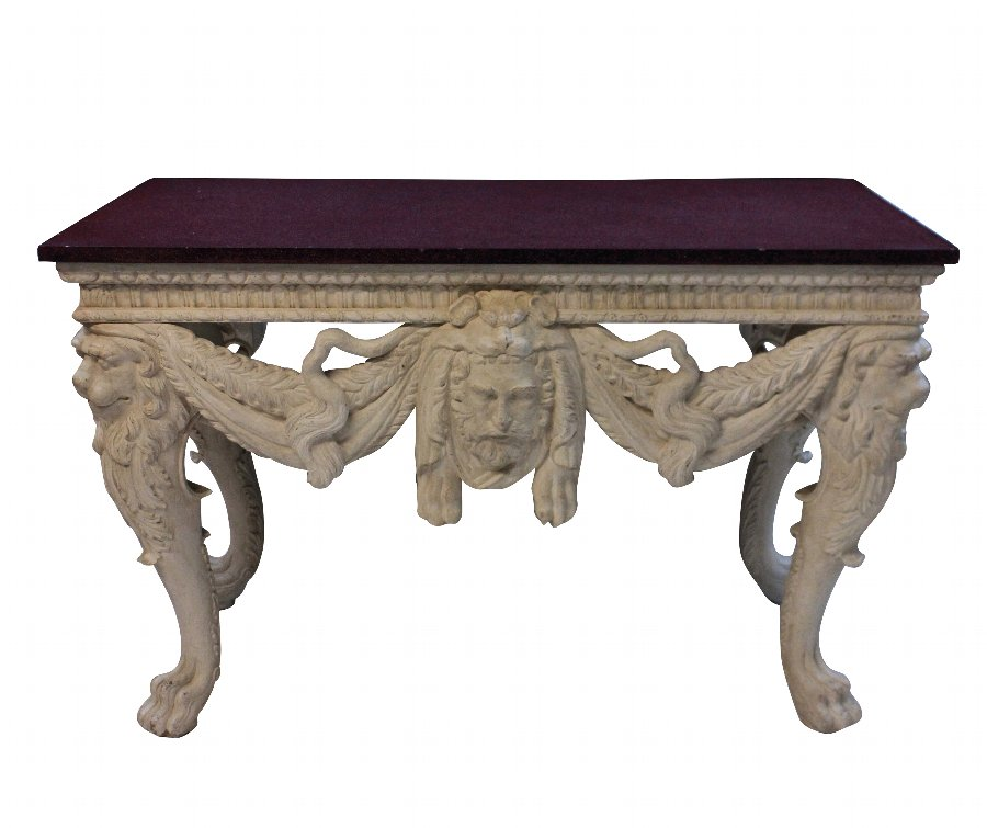 A LARGE COUNTRY HOUSE CONSOLE TABLE WITH A SOLID PORPHYRY TOP