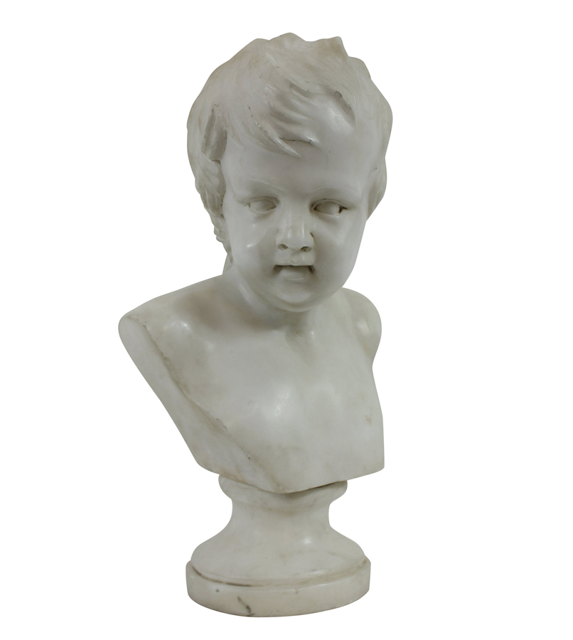 A FINE ENGLISH REGENCY MARBLE BUST OF A BOY