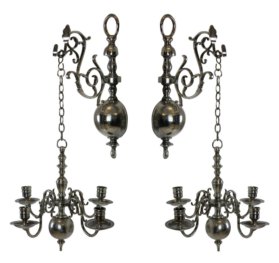 A PAIR OF ENGLISH SILVER WALL CHANDELIERS