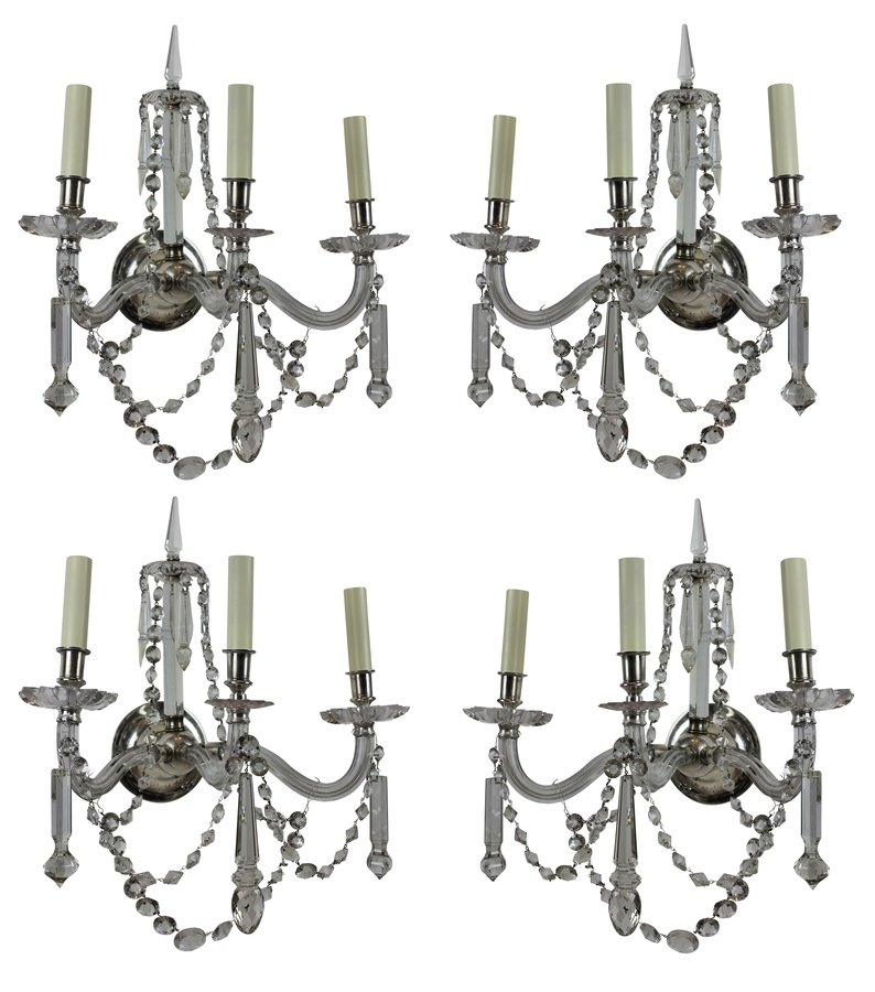 A FINE SET OF FOUR ENGLISH CUT GLASS SCONCES