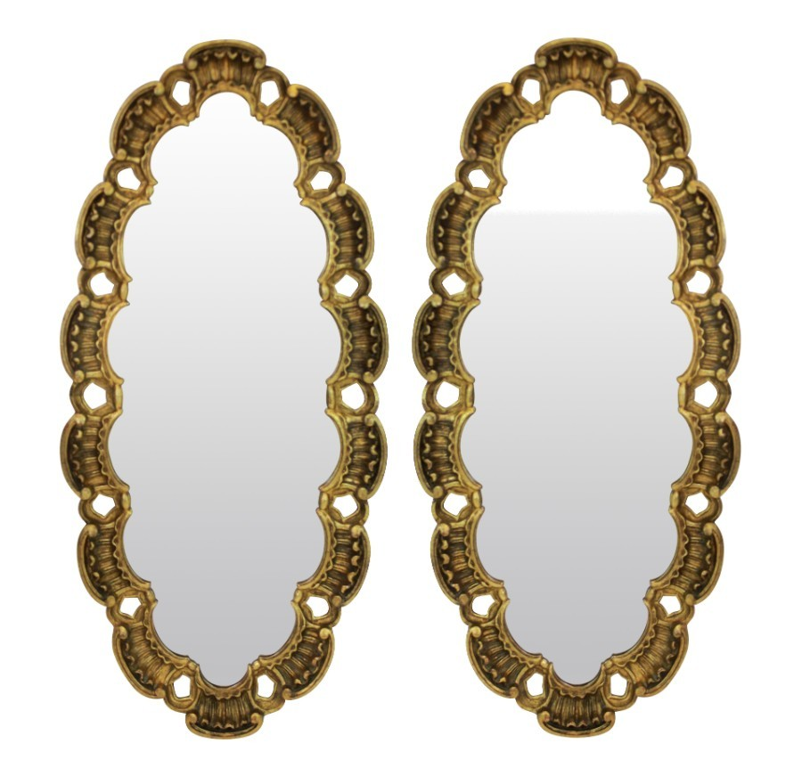A PAIR OF MID CENTURY GILT WOOD MIRRORS