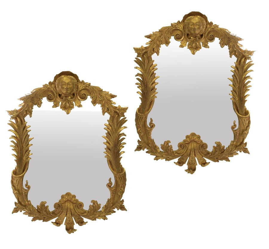 A PAIR OF LARGE GEORGE III STYLE GILT WOOD MIRRORS