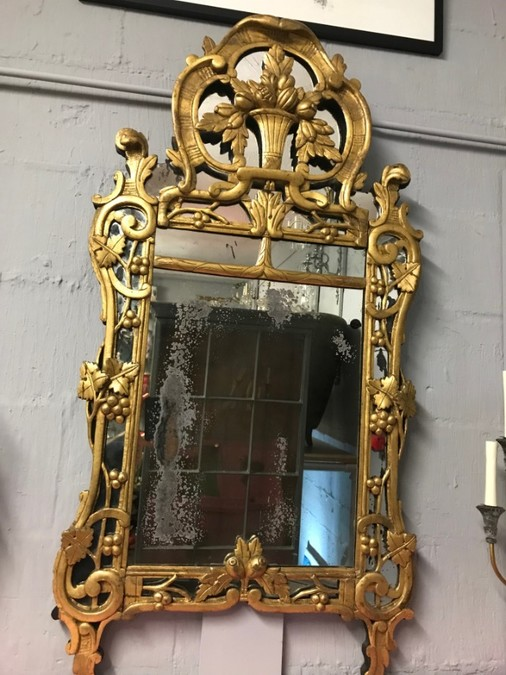 Antique A FRENCH PROVINCIAL MIRROR WITH THE ORIGINAL LOOKING GLASS