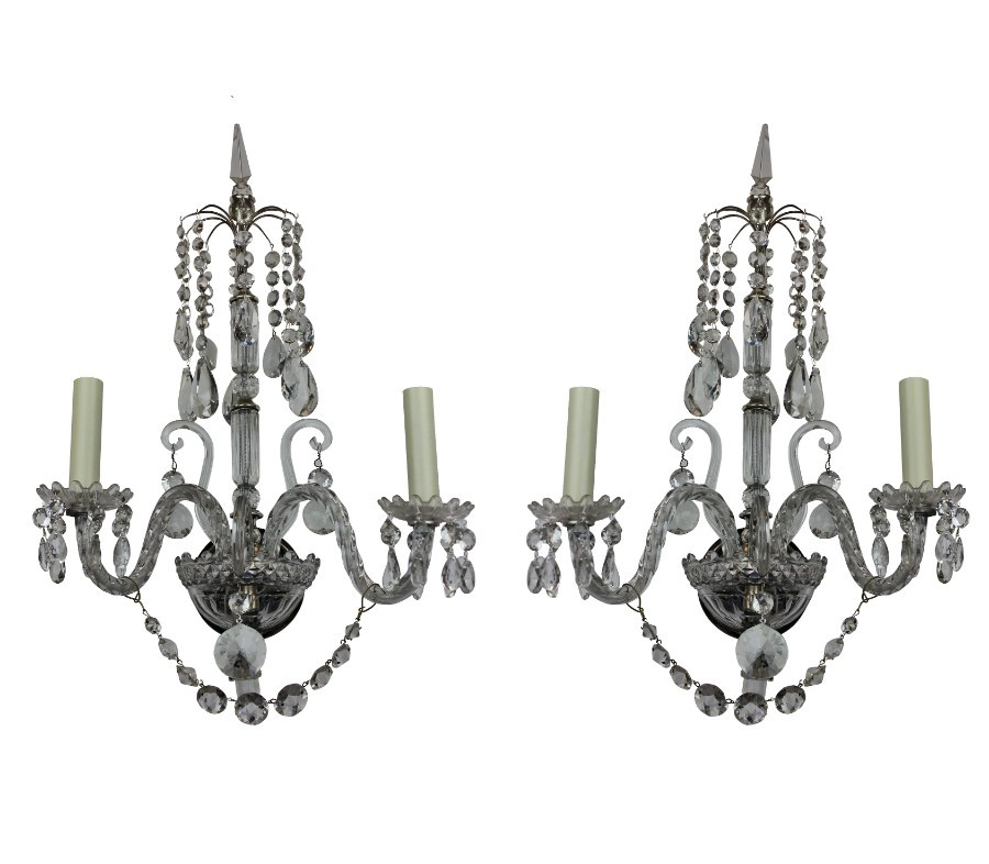 A PAIR OF ENGLISH CUT GLASS WALL LIGHTS
