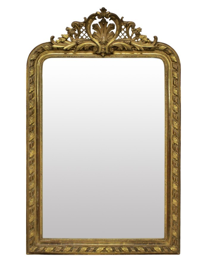 A FINE FRENCH WATER GILDED OVERMANTLE MIRROR