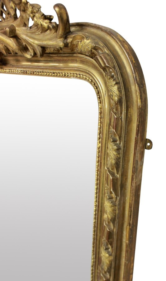 Antique A FINE FRENCH WATER GILDED OVERMANTLE MIRROR