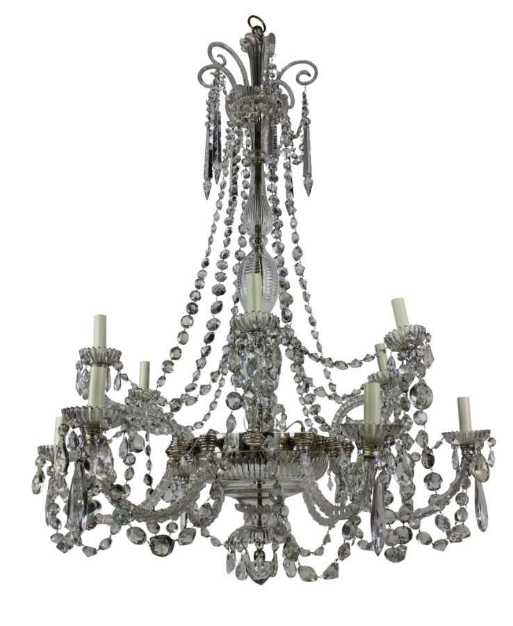 FINE ENGLISH CUT GLASS CHANDELIER BY PERRY & CO