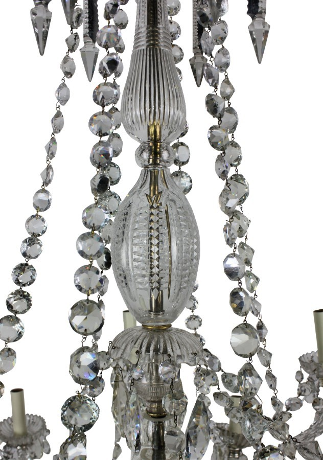 Antique FINE ENGLISH CUT GLASS CHANDELIER BY PERRY & CO