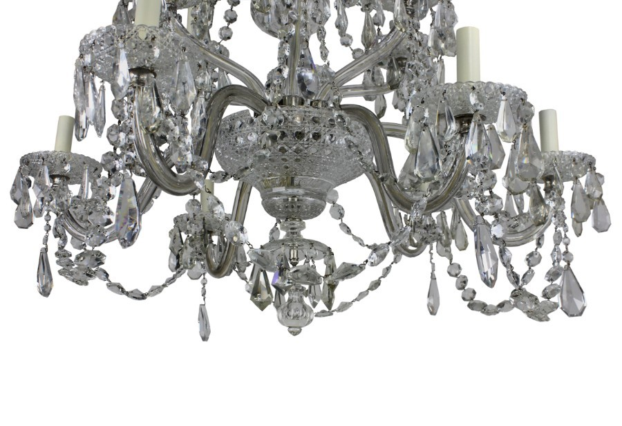 Antique A LARGE ENGLISH CUT GLASS CHANDELIER