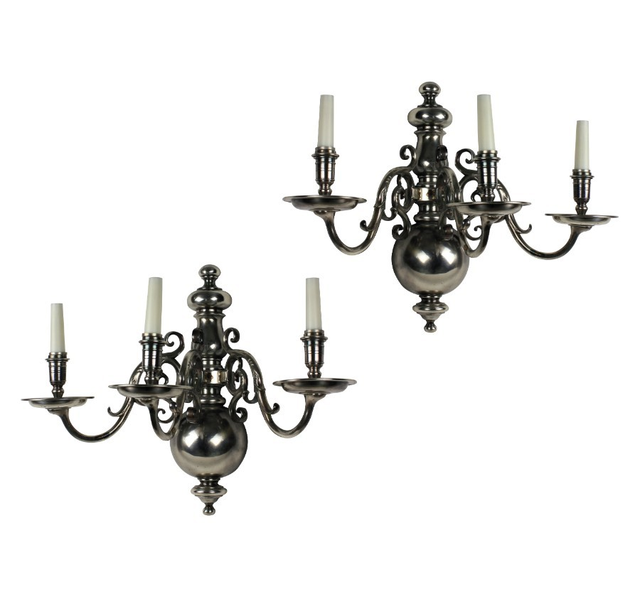 A PAIR OF LARGE FLEMISH SILVER PLATED WALL LIGHTS