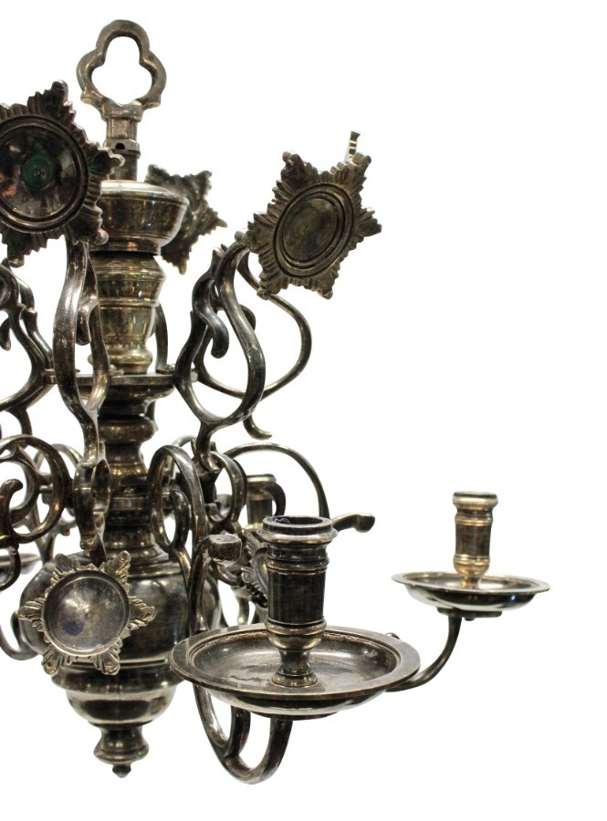 Antique A SILVER PLATED FLEMISH CHANDELIER
