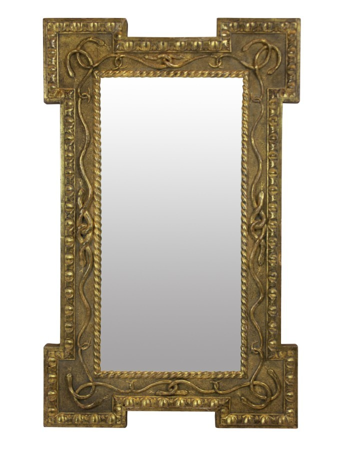 A REGENCY GILT WOOD MIRROR DEPICTING SERPENTS