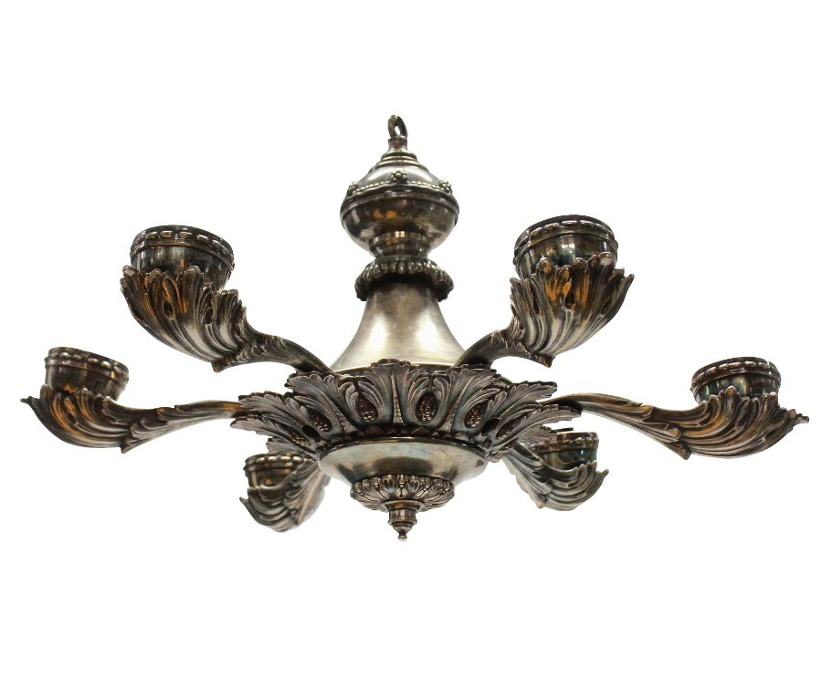A SILVER PLATED GREEK REVIVAL CHANDELIER