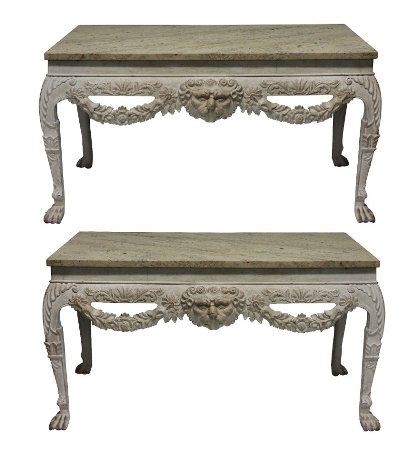 A PAIR OF LARGE XVIII CENTURY STYLE PAINTED MARBLE TOP CONSOLES