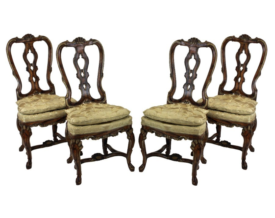A SET OF FOUR GEORGE II FAUX WALNUT & GILDED DINING CHAIRS