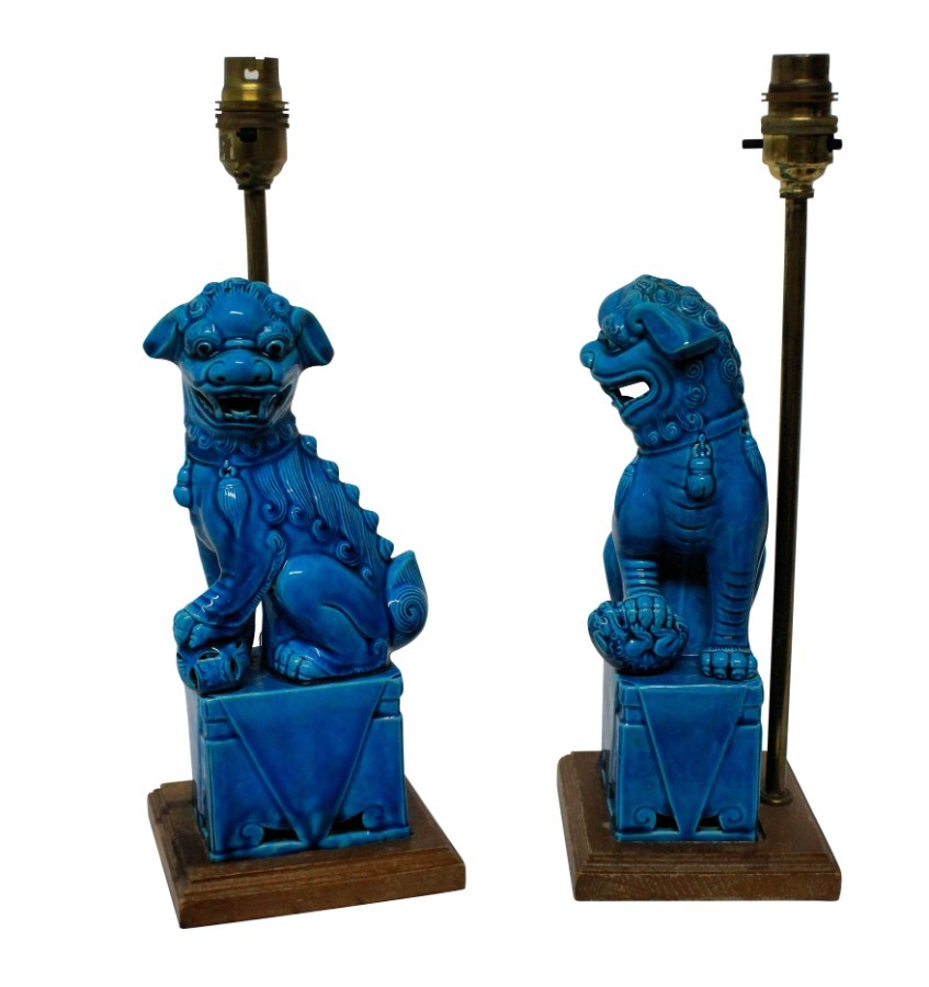 Antique A PAIR OF TURQUOISE FOO DOG LAMPS