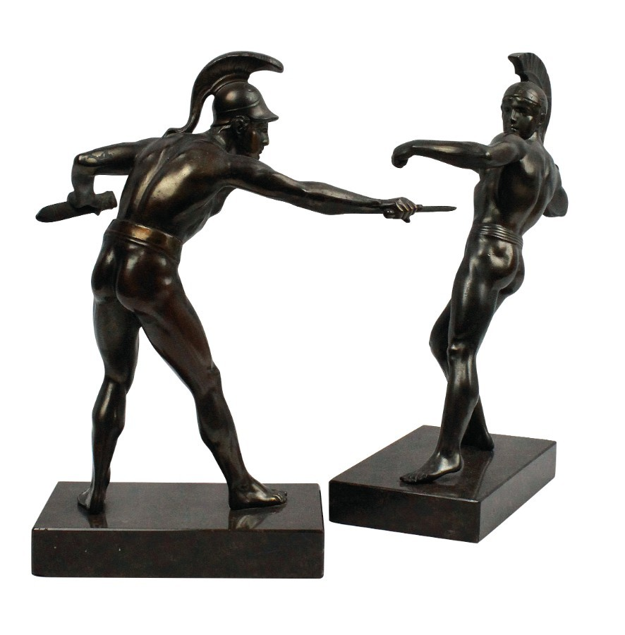 A PAIR OF BRONZE ANCIENT GREEK WARRIORS